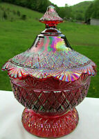 """Fenton Vintage Ruby Red Carnival Glass Iridescent Candy Dish RARE Pattern 6.5""""H"""