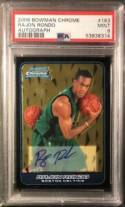 Rajan Rondo 2006-07 Bowman Chrome RC Autograph #163 PSA 9 Celtics Rookie Auto