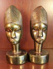 ANTIQUE BRONZE AFRICAN WOMAN HEAD BOOKENDS BOOK ENDS MARION BRONZE ART SCULPTURE