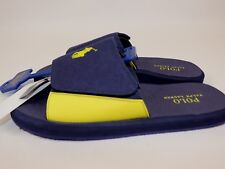 NWT POLO RALPH LAUREN Size 13 Mens Navy Yellow Canvas ALIM PONY SlipOn Flip Flop