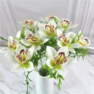 10pcs Artificial Orchid Flowers Branch Wedding Party Home Decoration Fake Flower