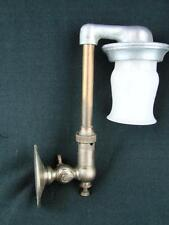 ORIGINAL VINTAGE WALL MOUNTED GAS LAMP, BOAT OR CARAVAN, WHITE VITREOSIL SHADE