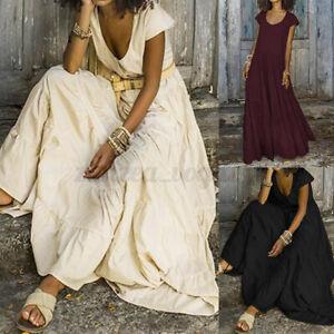 ZANZEA Women Summer Tiered A-Line Flare Swing Long Maxi Kaftan Sundress Dress