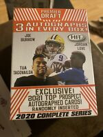 2020 SAGE FOOTBALL LOW & HIGH SERIES HIT PREMIER DRAFT BLASTER BOX 3 AUTOGRAPHS