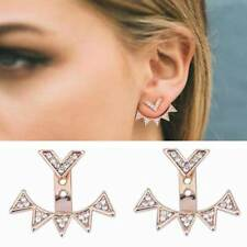 Womens Earrings 1pair Stud Gold CZ Jacket Double Sided Bohemian Inspired US New