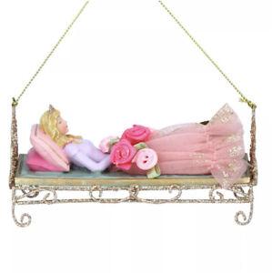 Gisela Graham Sleeping Beauty Asleep in Bed Hanging Decoration 10cm