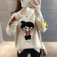 Autumn Winter Sweater Women Korean Crew Neck Jumper Loose Thick Warm Knitted Top