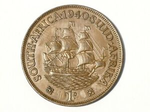 1940 South Africa George VI One Penny 1d Coin SAILING SHIP #SP41