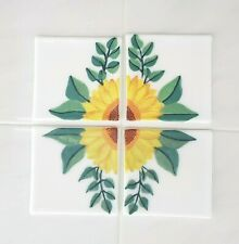 4Hand Painted Fused Glass Tile,Sunflower ,Glass Tile Kitchen ,Decorative Tiles