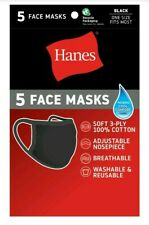 5 Pack Hanes Black 100% Cool Comfort Fabric Face Mask Reusable Same Day Ship!