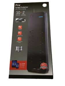 GE UltraPro Surge Protector 10 Protected Outlets + 2 USB Ports w/ 4FT Cord NEW