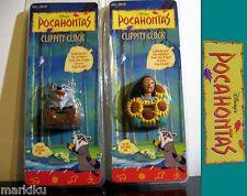 Lot of 2 Disney Pocahontas magnetic Clippity fridge clock Meeko raccoon Girl
