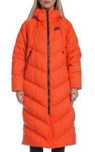 Nike DOWN FILL PARKA LONG Orange Black Women's Size M (BV2881 891)