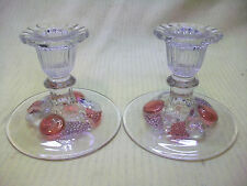 2 WESTMORELAND DELLA ROBBIA FLASHED ELEGANT GLASS CANDLE HOLDERS STAINED FRUITS