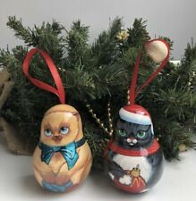 Wooden Christmas Ornaments, set with 2 ornaments,handmade, Cats