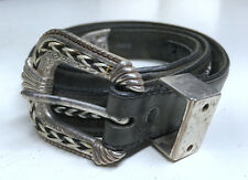 Tony Lama Size 32 Black Leather Braid Strip Silver Tone Buckle Belt