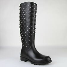 Saint Laurent Women Black Rubber Rain Boots w/crystal Studs 427307 1000