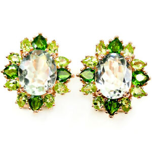 REAL GREEN AMETHYST CHROME DIOPSIDE & PERIDOT STERLING 925 SILVER DROP EARRING