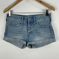 Hollister Womens Denim Shorts W25 Blue Button Closure