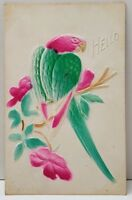 Embossed Airbrushed Parrot Greeting Hello 1914 WV to Virginia Postcard B11