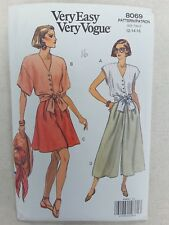 Vintage cut Sewing Pattern 8069 top, shorts, skirt, Sizes 12, 14, 16 unchecked