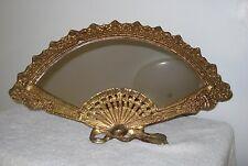 Vtg French Brass Mirror, Art/deco Nouveau Fan Self Standing Vanity/ wall hanging