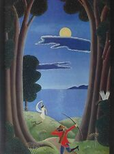 """THOMAS McKNIGHT """"HUNT BY MOONLIGHT"""" SIGNED OFFSET LITHOGRAPH 1980"""