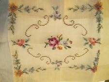 Pink Rose Finished Center & Tramme Edges Needlepoint Canvas To Stitch 8.5x10 Inc