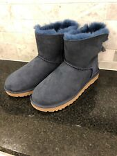 Women's UGG Mini Bailey Bow II Shimmer Blue Boots- Size 8-#1102938