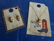 """Chain Matching Earrings Set Jewelry Patriotic Cowboy Western Happy Necklace 18"""""""