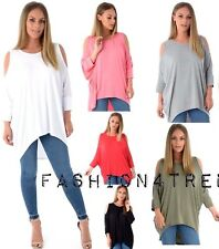 NEW LADIES CUT OUT SLEEVES LONG WOMEN T-SHIRT COLD SHOULDER HI LO HEM TUNIC TOP