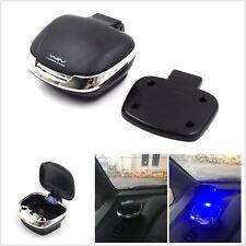 UNIVERSAL Black Shell Shape LED Blue Light Inside Car Ashtray W/ Detachable Base