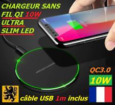 Chargeur sans fil Qi Induction LED 10W Rapide QC Métal HQ Iphone Samsung huawei