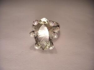 Gorgeous Estate Bold 14K White Gold Green Amethyst Pave Diamond Designer Ring