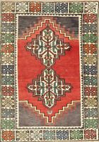 Anatolian Turkish Hand-Knotted Geometric Oriental Area Rug Home Decor Carpet 3x4