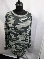 Ladies Top Blouse Sweater Camouflage Green Grey Nouvelle Size 22