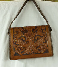 Vintage Hand-Tooled Genuine Leather Purse Hand bag Over Shoulder Brown