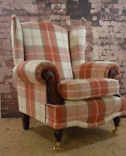 Queen Ann Wing Back Balmoral Orange Rust Tartan Fireside Chair.