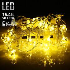 16.4ft String Lights 50 Led Blossom Flowers, Battery Powered Christmas Lights