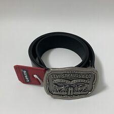 Levi's Leather Men's Belt Plaque Buckle Black Size 36