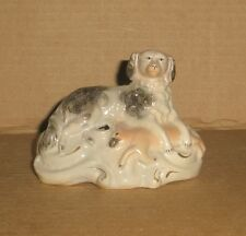 Staffordshire Inkwell: Spaniel with Hare