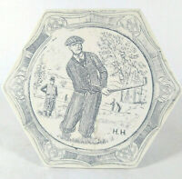 Comoy's of London Golfer Oval Scrimshaw Trinket Box Vintage
