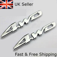 x2 4WD Badge 3D Emblem Silver Chrome 4x4 Four Wheel Drive Car Sticker Logo Decal