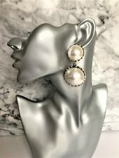 Chunky Big Pearl Earrings Dangle in Gold Tone 6.5 cms drop