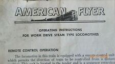 Original AMERICAN FLYER Operating Instructions for Worm Drive Steam Loco M3302