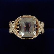 Large Green Amethyst Ring in 9ct Yellow Gold - Large Size T - 6.6grams