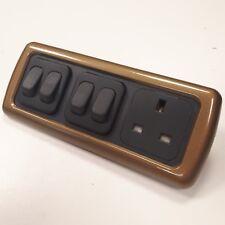 Bronzo Lucido CBE Triple Unit - 2 X 2-Way Switch and 240v UK Plug Socket