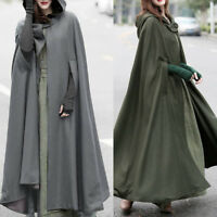UK Women Plus Winter Hooded Cloak Long Coat Jacket Xmas Wizard Poncho Overcoat