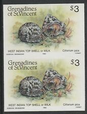 St V Grenadines 3323 - 1985 SHELLFISH $3 TOP SHELL  IMPERF PAIR unmounted mint