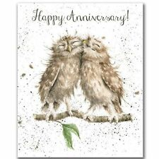 Wrendale HAPPY ANNIVERSARY OWL Card by HANNAH DALE Made in the UK ANNIVERSARY
